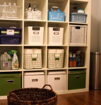 Laundry room storage shelves with baskets | Home Interiors