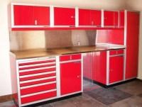 Red & white metal garage storage cabinets
