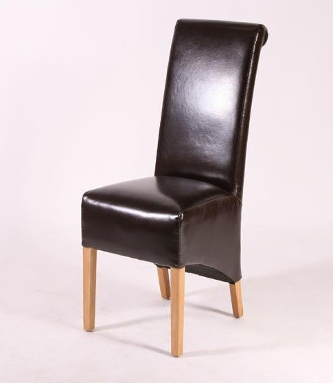 Brown High Back Leather Dining Chairs
