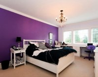 Purple bedroom wall color ideas with white furniture ...
