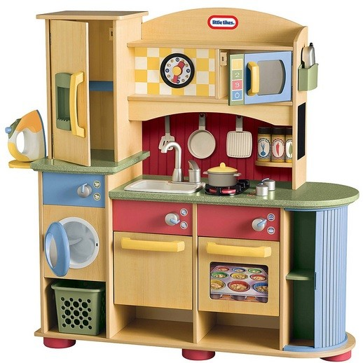 Wooden play kitchen set with laundry  Home Interiors