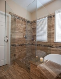 Brown tile bathroom shower remodel ideas | Home Interiors