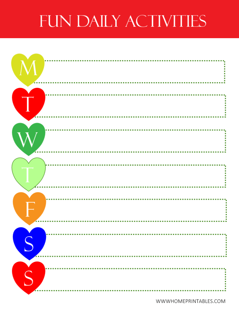 Freebie for Your Kids: Fun Daily Activity Chart!