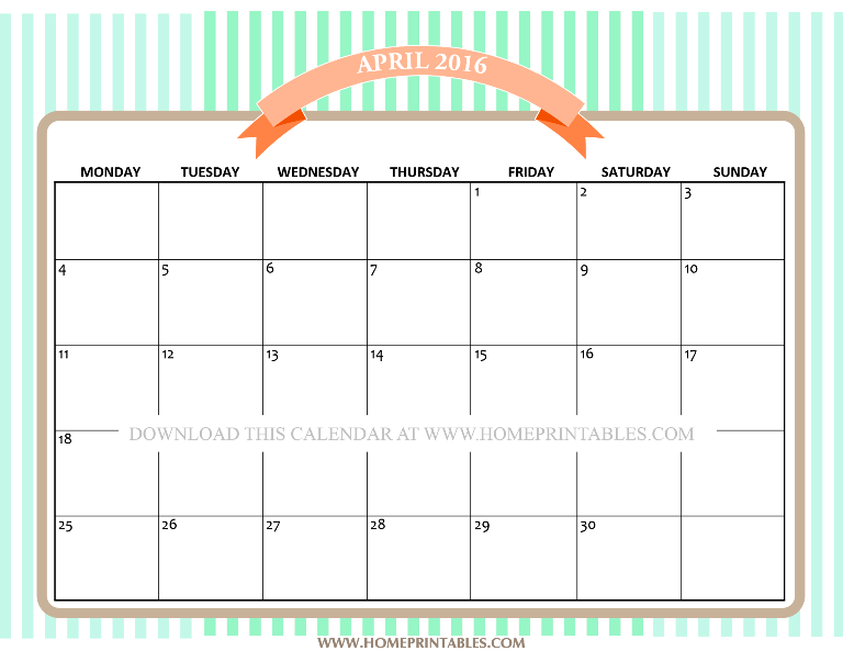 FREE PRINTABLE APRIL 2016 CALENDAR CUTE
