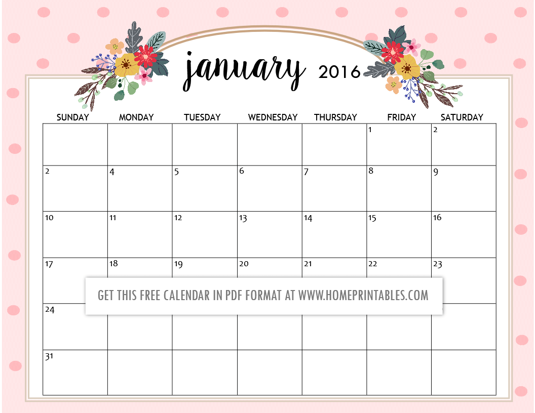 Cute Free Printable 2016 Calendars - Home Printables