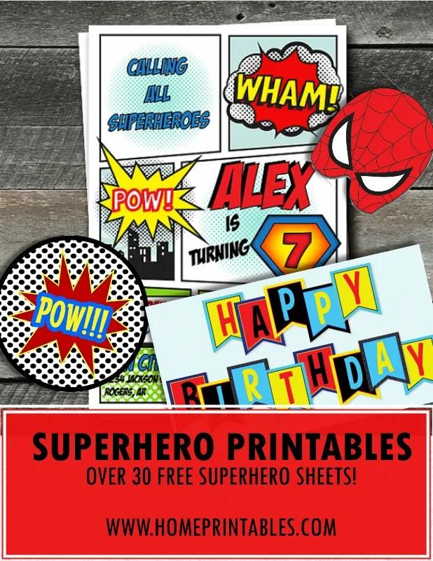 30+ Amazing Free Superhero Party Printables!