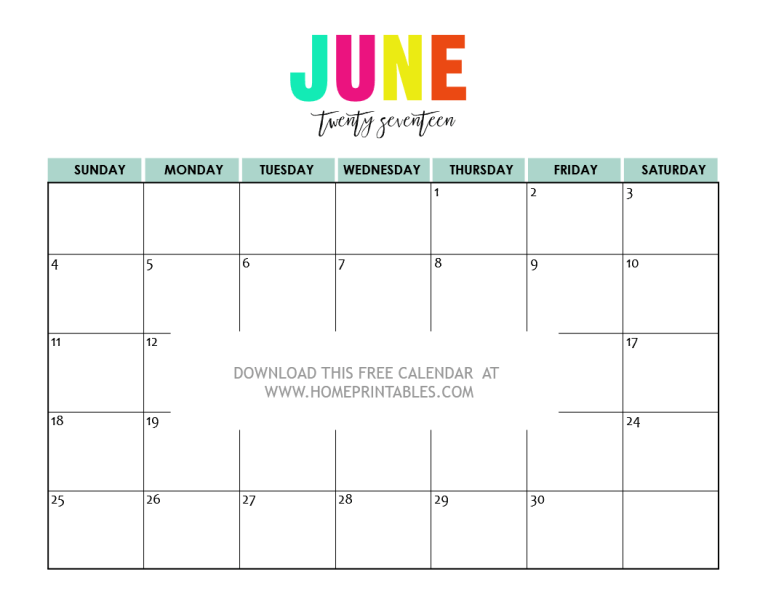 Free Printable 2017 Calendars: Bright and Beautiful! - Home Printables