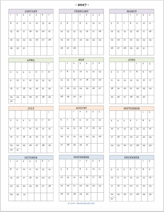 2017yearataglancecalendar Home Printables