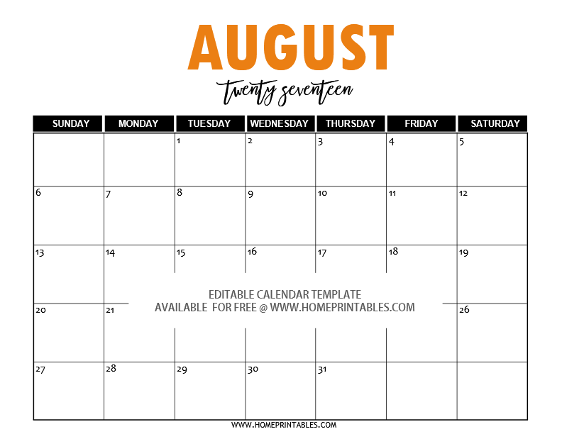 October 2017 Calendar Template - Free printable calendar