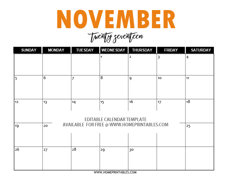 Free Editable 2017 Calendar In Word Pretty Template Home Printables