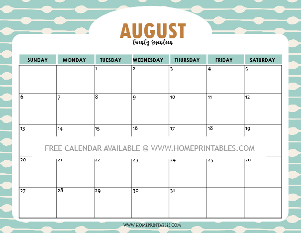 Free printable august calendar 2017 9 cool designs for Style at home august 2017