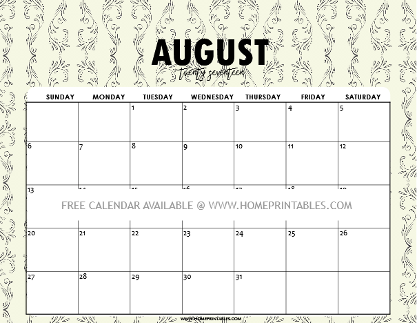 Free Printable August Calendar 2017: 9 Cool Designs ...
