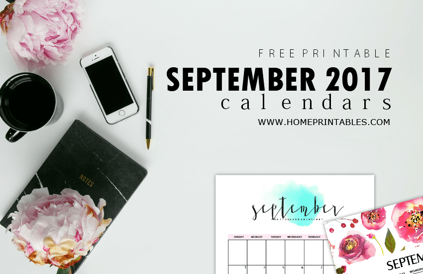 Calendar September 2017: 8 Free Pretty Printables!