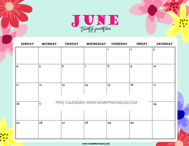 June 2017 calendar printable for kids