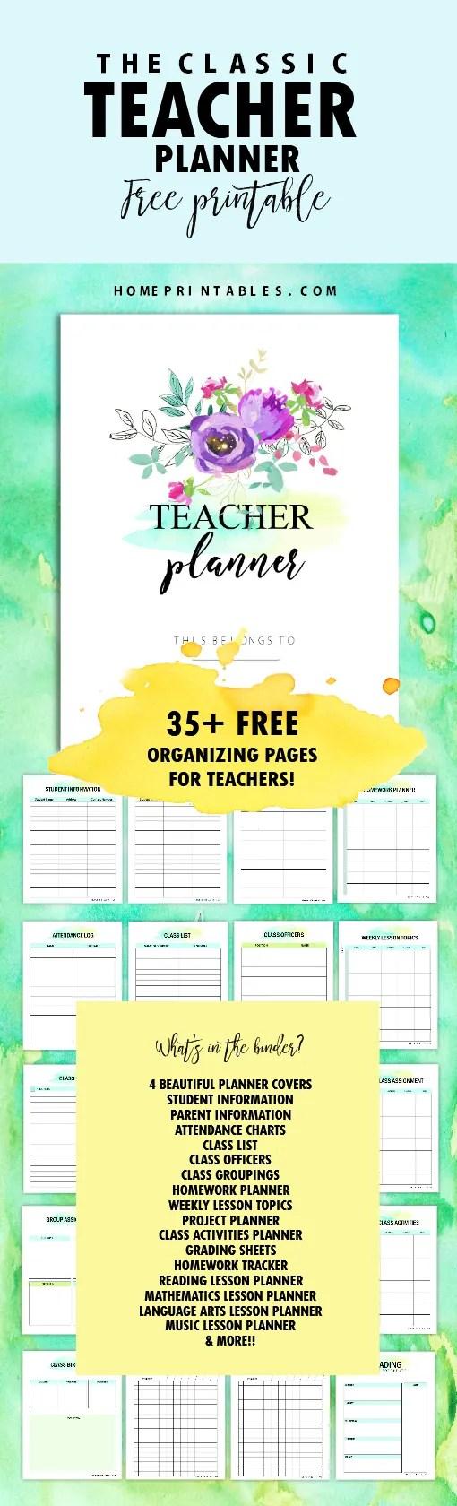 Free Printable Worksheets For Teachers : Free teacher planner printables organizing sheets