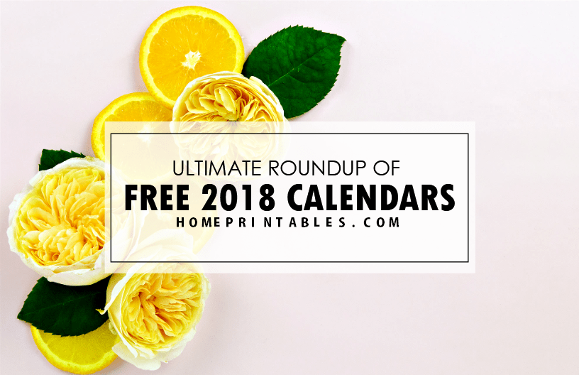 Ultimate Roundup of Free Printable 2018 Calendars!