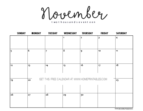 photo regarding Free Printable November Calendar called Totally free November 2017 Calendar Printable: Lovely Prints! - Household