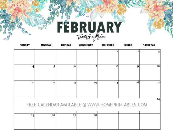 picture regarding Calendar February Printable known as February 2018 Calendar Printable: 10 No cost Possibilities! - Property