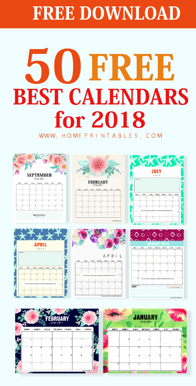 top 50 printable calendar 2018 for free download