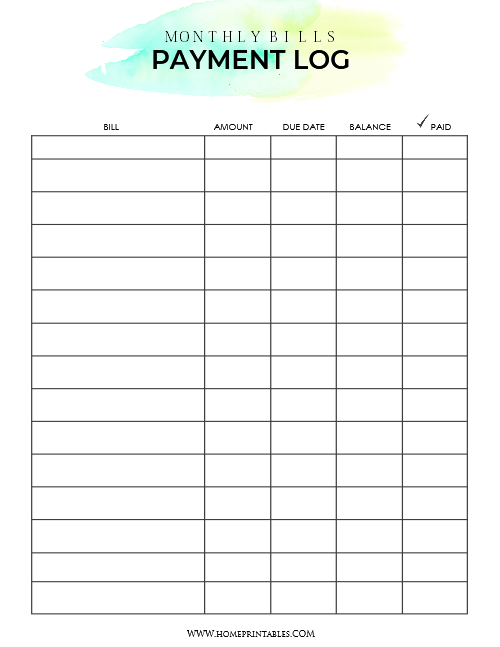 image about Free Printable Monthly Bill Payment Log named Down load Your Totally free Invoice Rate Organizer! - House Printables