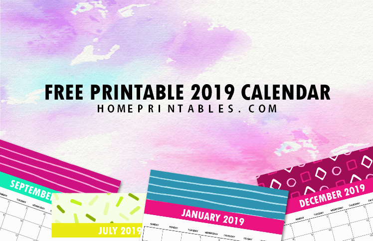 Free 2019 Monthly Calendar Printable: Cute and Colorful!