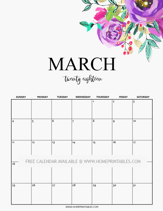 Calendar Ideas For March : Free printable march calendars spring themed home