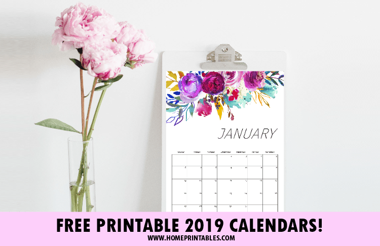 FREE Printable Calendar 2019 in Beautiful Florals!