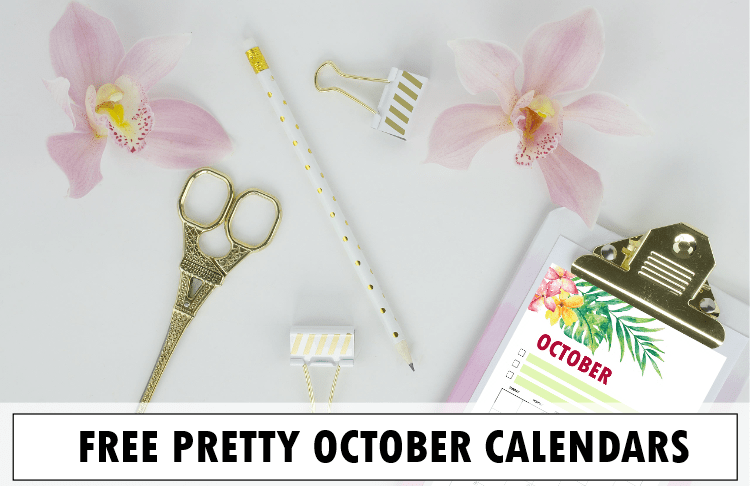 FREE Printable October 2018 Calendar: 10 Cute Designs!