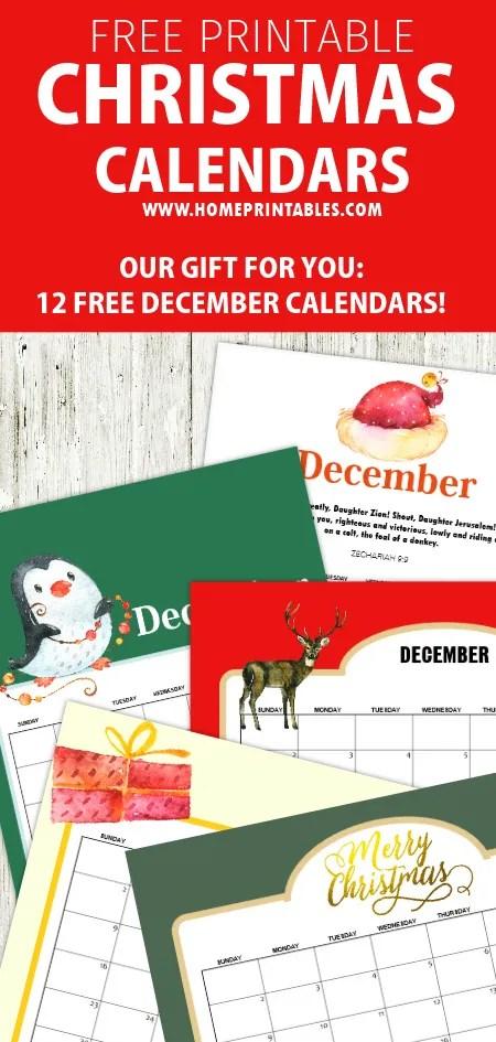 December 2018 calendar printables
