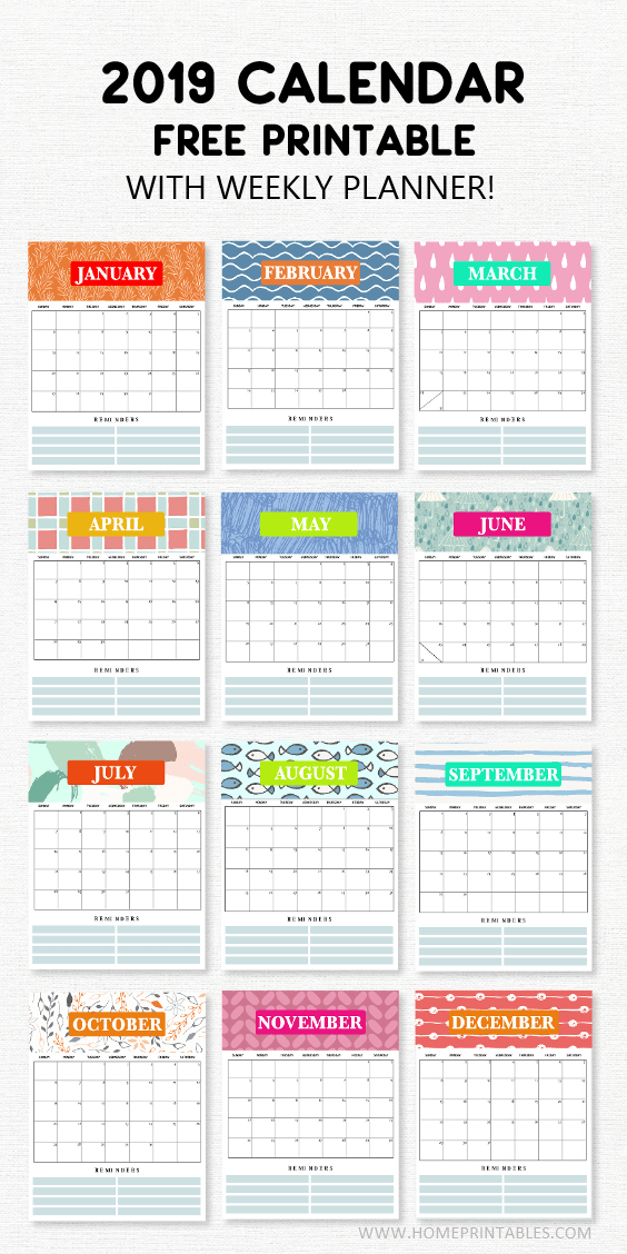 graphic about Cute Weekly Planner Printable identified as 2019 Calendar Printable with Weekly Planner: Tremendous Lovely Freebie!