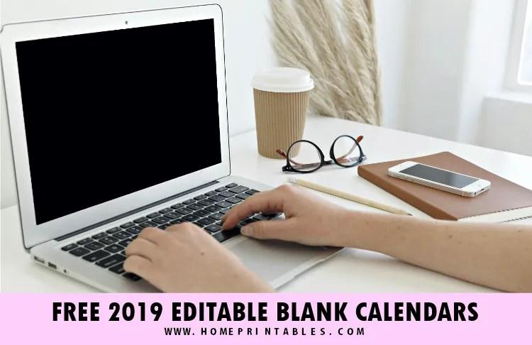 Blank Calendar 2019: Free Editable Template in Microsoft Word!