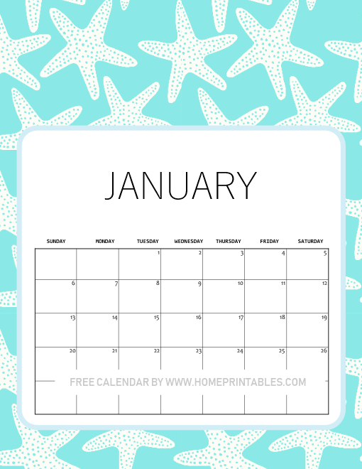 January 2019 calendar printables