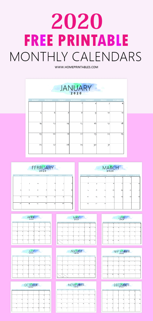 graphic regarding Pretty Printable Calendar named No cost 2020 Calendar Printable: Uncomplicated and Rather Very!