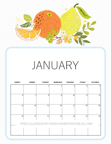 2019 January calendar free download