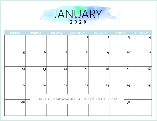 January Calendar 2020 Cute Free 2020 Calendar Printable: Simple and Very Pretty!