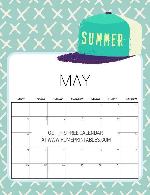 free printable May 2019 calendar summer