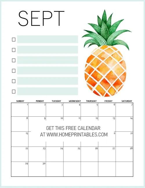 September Calendar 2019 Free Download