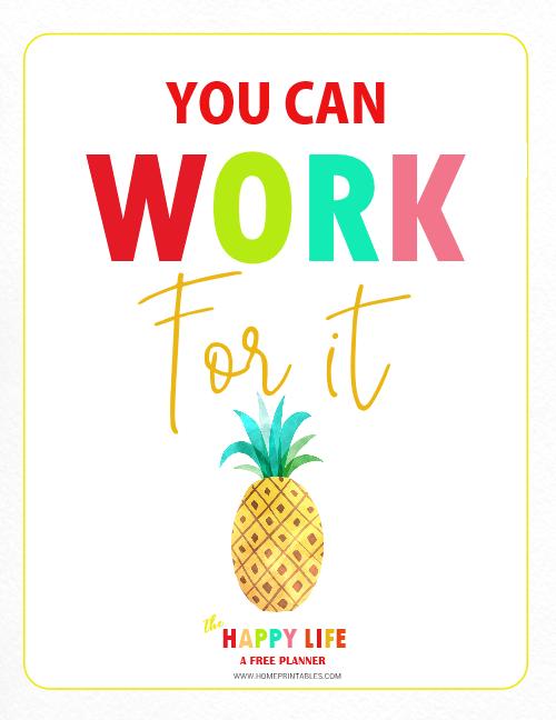 planner divider printable quote about work