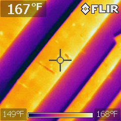 Infrared showing hot area at roof deck