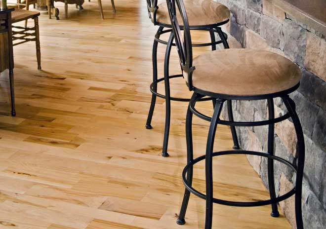 Dining Room with Hickory Wood Flooring
