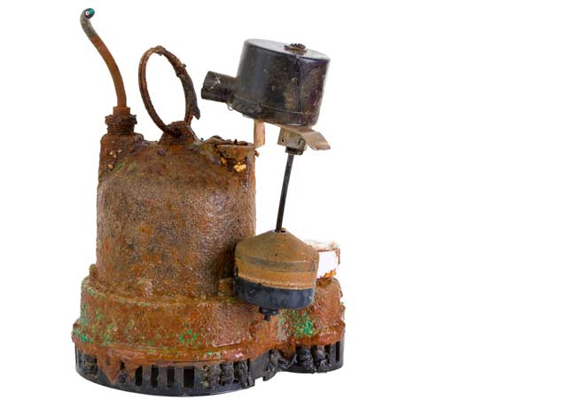 Rusted and Broken Sump Pump