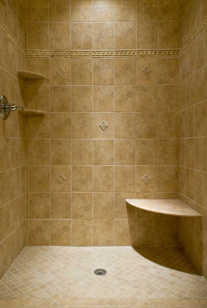 Travertine Tiled Stand Up Shower