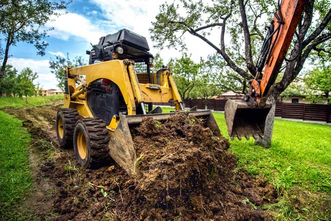 Landscaping with Mini Bulldozer and Excavator