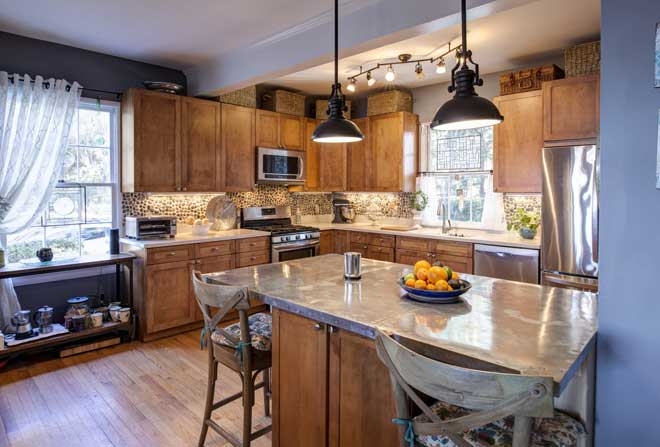Designer Lighting in Eclectic Kitchen