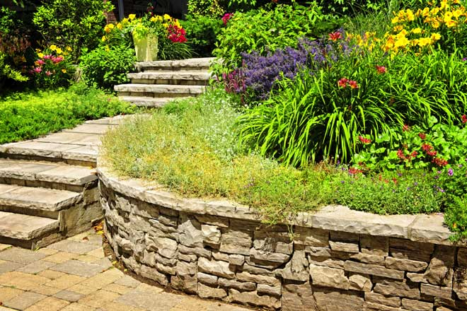 Beautiful Retaining Wall and Stairs