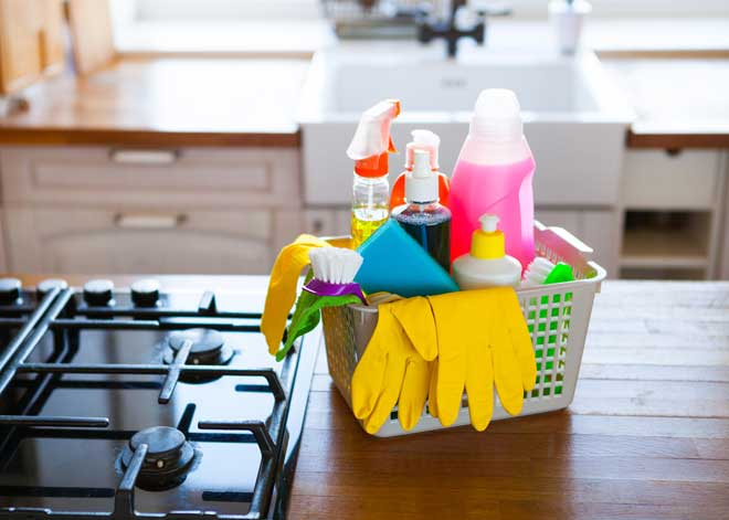 Basket of Home Cleaning Supplies