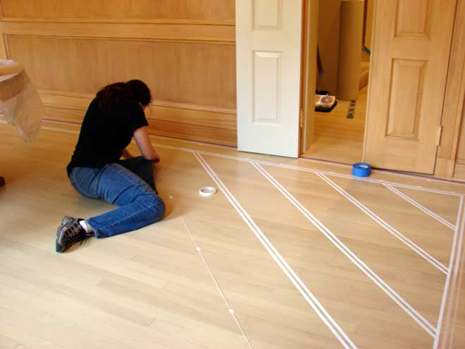 Creating Patterns on Wood Floor with Painter's Tape