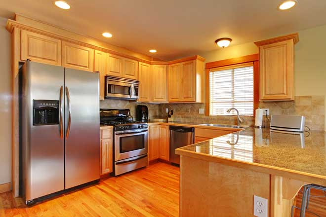 blonde kitchen cabinets decorative step stools maple vs oak cherry and birch home reference