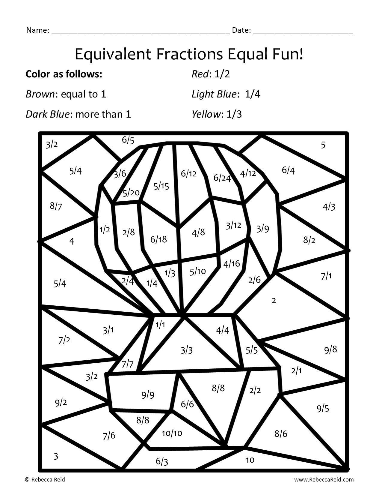 Fraction Coloring Sheets Coloring Pages