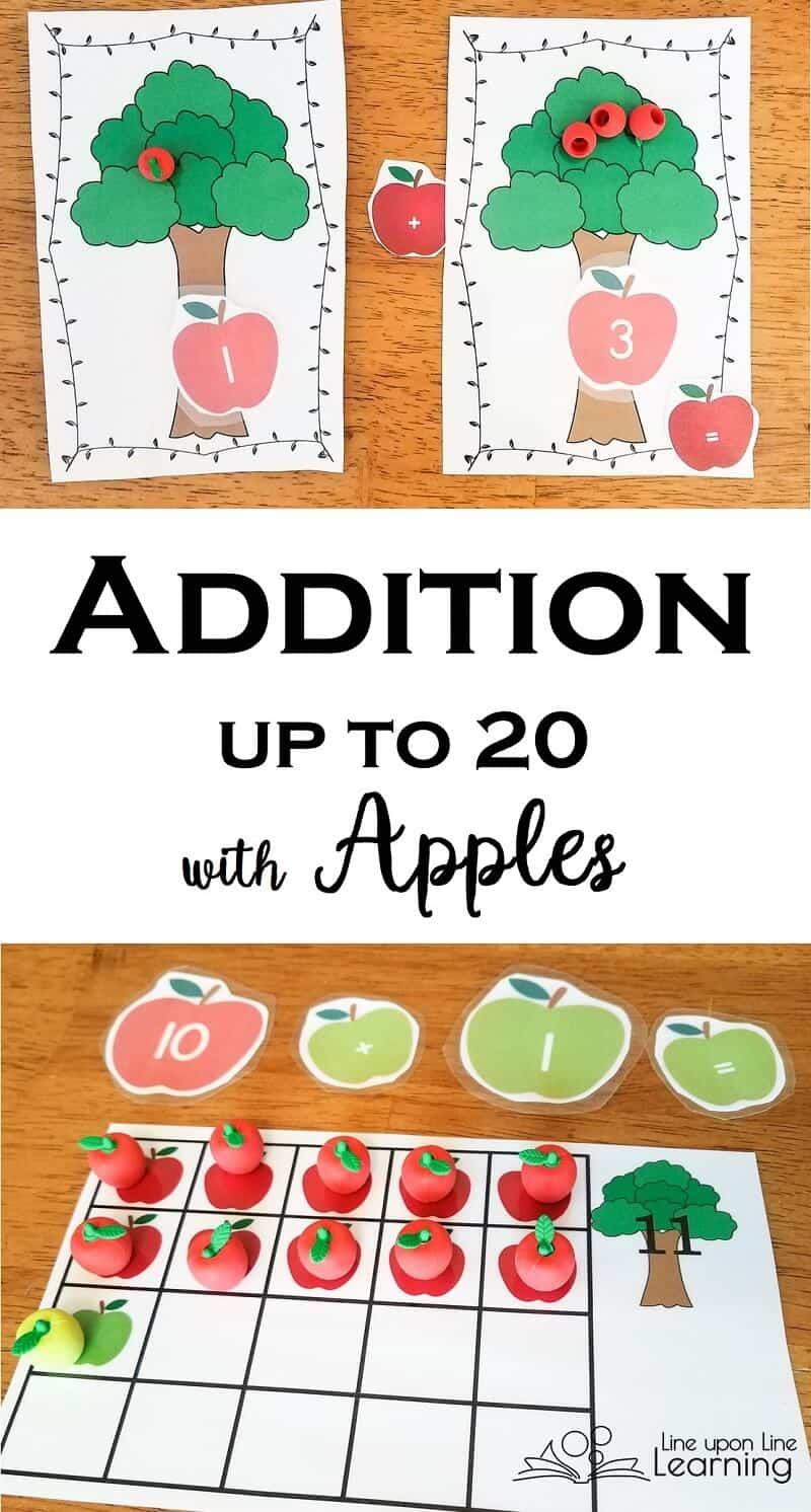 Practice counting up to twenty and adding apples in apple trees with apple tree mats, apple numerals, and apple ten frames (actually, 20 frames since they go up to 20!) See more about the printable and make autumn math hands-on.